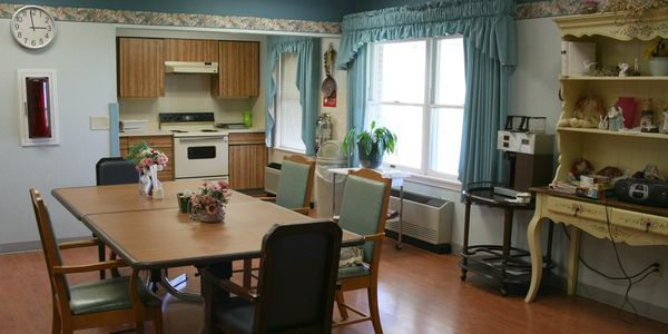 Private dining room with kitchen in Assisted Living