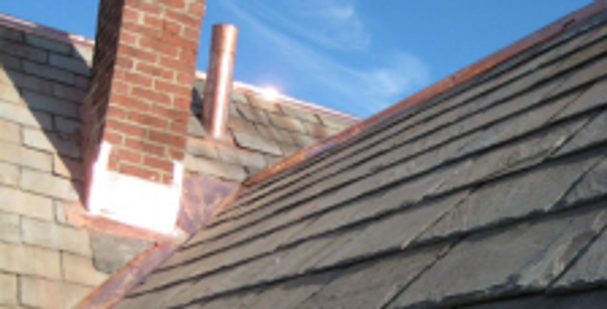 Copper valley, Ridge cap, vent boot, chimney flashing and slate restoration