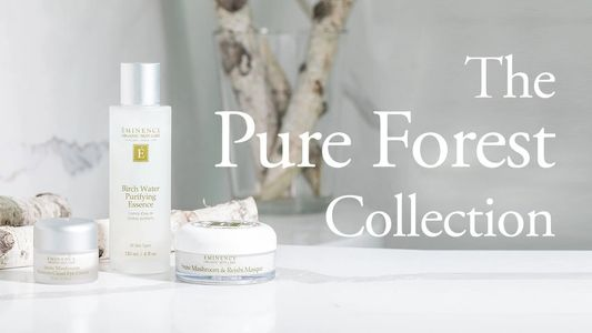 Eminence Organics pure forest collection, Birch water, snow mushroom eye cream and masque