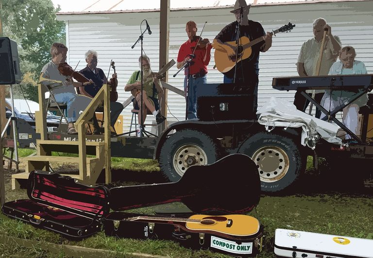Fiddlers and friends at the annual corn roast, August 2018