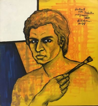 Thalo Blue; right handed portrait, 1975 pre-dates Balance; (home page) left handed portrait, 1988