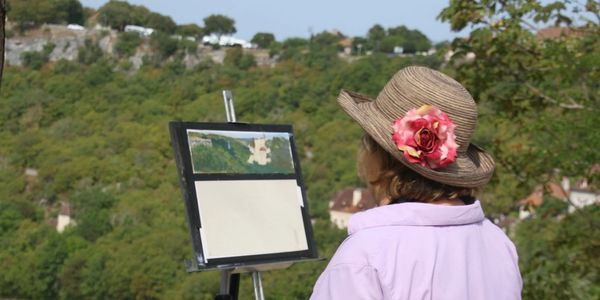 Margaret Lindsey painting in the French Countryside.