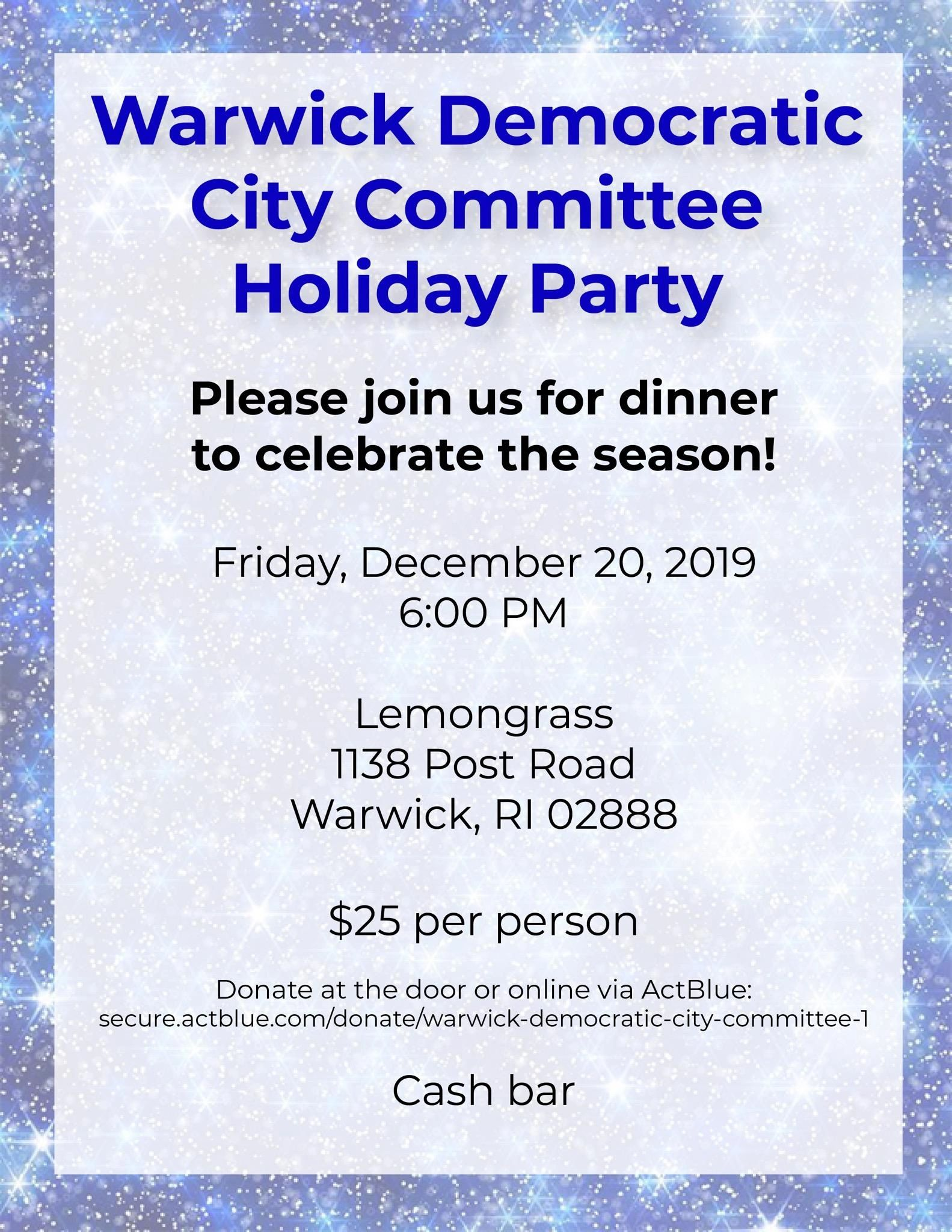 "{""blocks"":[{""key"":""e8ifa"",""text"":""Please join us for dinner to celebrate the season! Warwick Democratic City Committee members and family are cordially invited! "",""type"":""unstyled"",""depth"":0,""inlineStyleRanges"":[],""entityRanges"":[],""data"":{}}],""entityMap"":{}}"