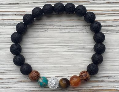 Fire, Earth, Air, Water. Palm Wood, Lava, Ice Flake Quartz, Tiger eye, Carnelian, Blue Jasper