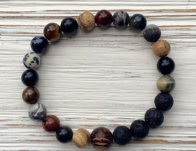 From the Earth Bracelet  Gemstones in deep Earth tones with a Palm wood connection bead Lava stone