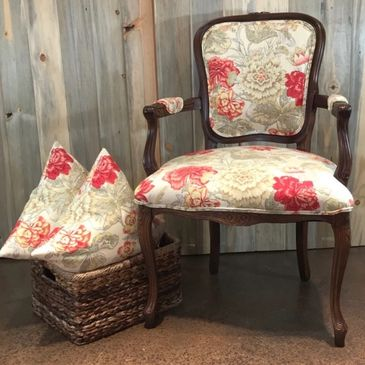 Custom upholstered chair and pillows.