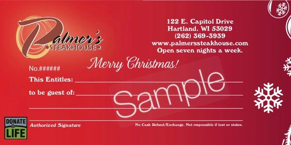 Palmer's Steakhouse Christmas Gift Certificate Gift Card