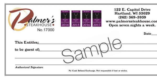 Palmer's Steakhouse Gift Certificate Gift Card
