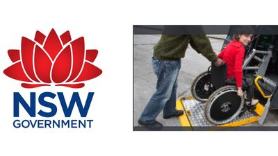 nsw government emblem with disabled participant assisted in wheelchair