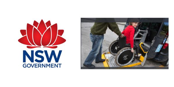NSW emblem with disabled in wheel chair assisted