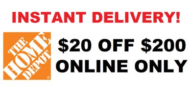 Home Depot $20 Off $200 Coupon with Instant Email Delivery after payment through PayPal