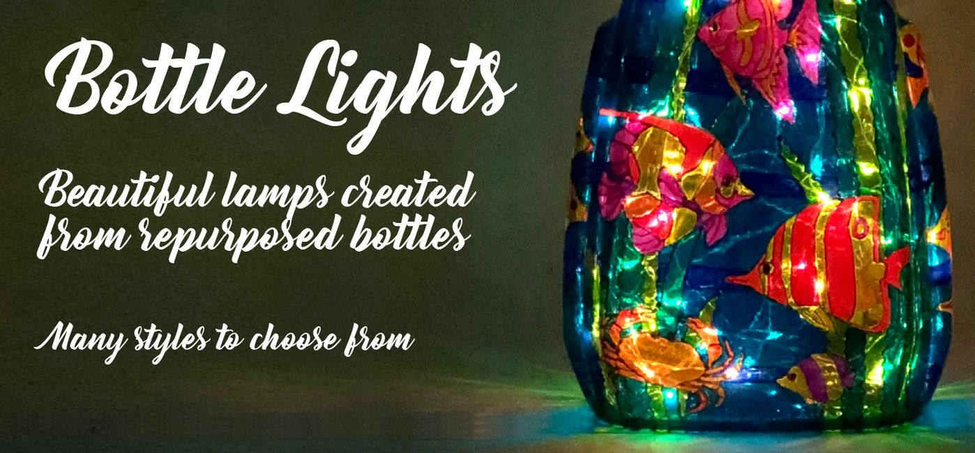 Main photo for Bottle Lights page. Under The Sea light with a headline of Bottle Lights