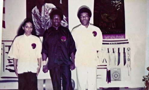 Danny Gwira with Ron Van Clief  and Milagros Van Clief  New York 1976