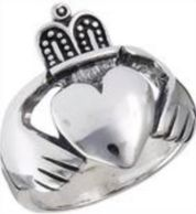 Celtic and Claddagh rings in sterling silver, gold, stainless steel