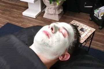 Highlights and Skincare by Donna Lynn man with clay mask on his face