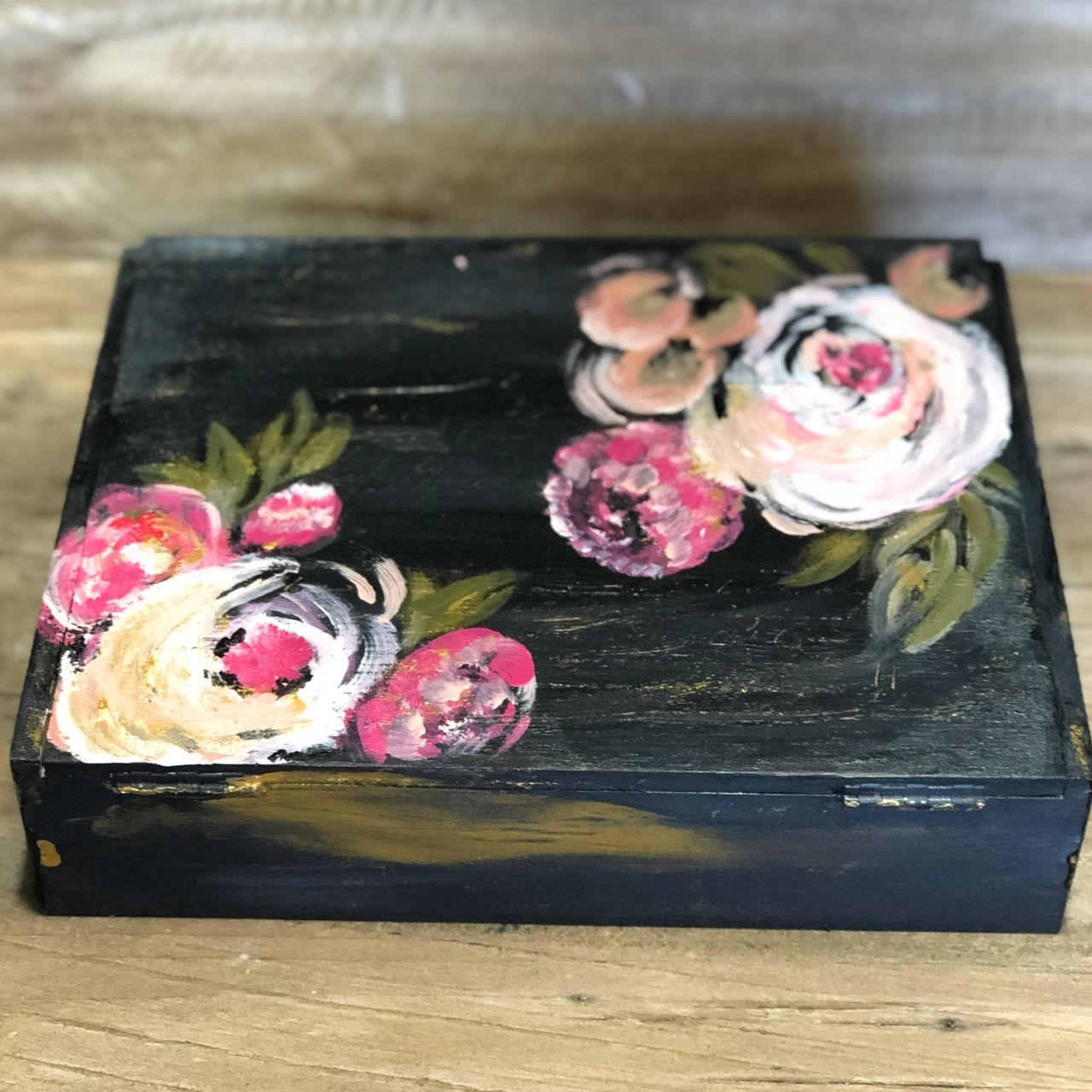 Vintage Upcycled and Hand Painted Cigar Box