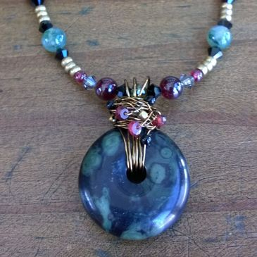 Antiqued brass necklace with kambaba jasper & garnet, by Susan Borres