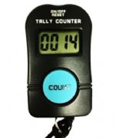 The E2-EHT Electronic Footfall Counter, large blue button, counts to 0-9999.