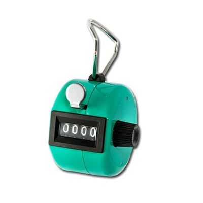 Handheld people counter in bright green metal colour, 0-9999 with reset knob