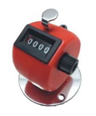 Desktop clicker counter in red with pre-drilled metal base, 0-9999 with reset knob.