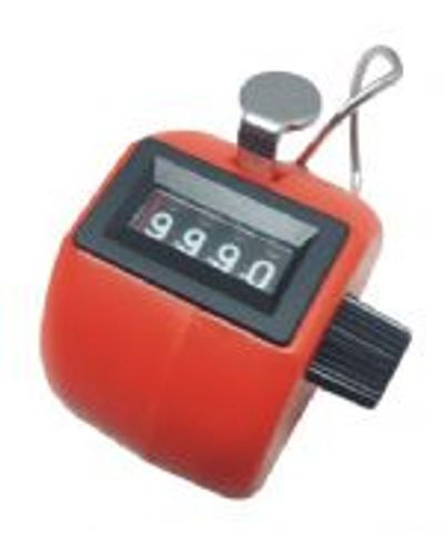 Handheld clicker counter in Red ABS body, 0-9999 with reset knob and finger ring.