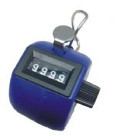 Blue ABS Plastic body Tally Counter, 0-9999 with reset knob.