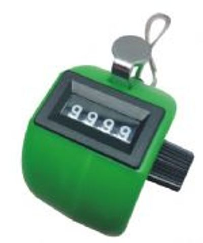 Number Clicker in Green ABS Plastic body, 0-9999 with reset knob.