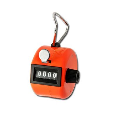 Quality metal click counter in bright Orange metal colour, 0-9999 with reset knob