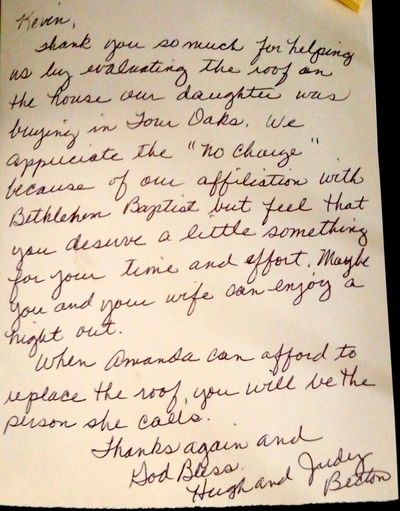 A nice handwritten note from a customer!