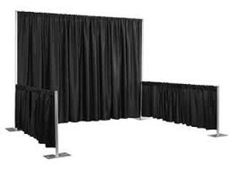 "Crossbars are telescoping 8' & 10' Upright poles are 3' or 8' Drapes are 48"" x 46"" or 48"" x 94"""
