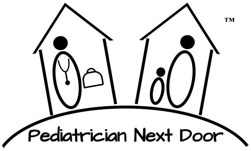 Pediatrician Next Door logo pediatrician with medical bag in one house and family in adjacent house
