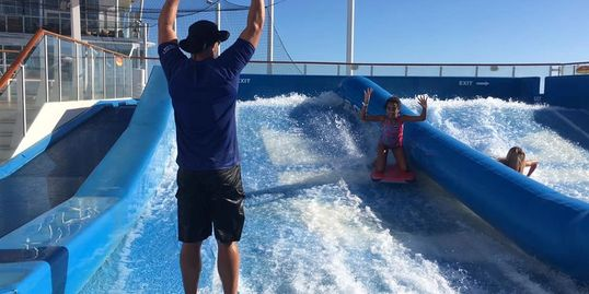 Flowrider lesson on Royal Caribbean cruise