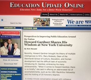Cover of the online edition of Education Update featuring Howard Gardner and Barack Obama