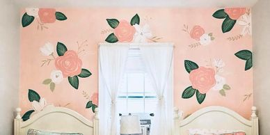 SABRINAS MURALS GIRLS ROOM FLORAL PATTERNED WALL