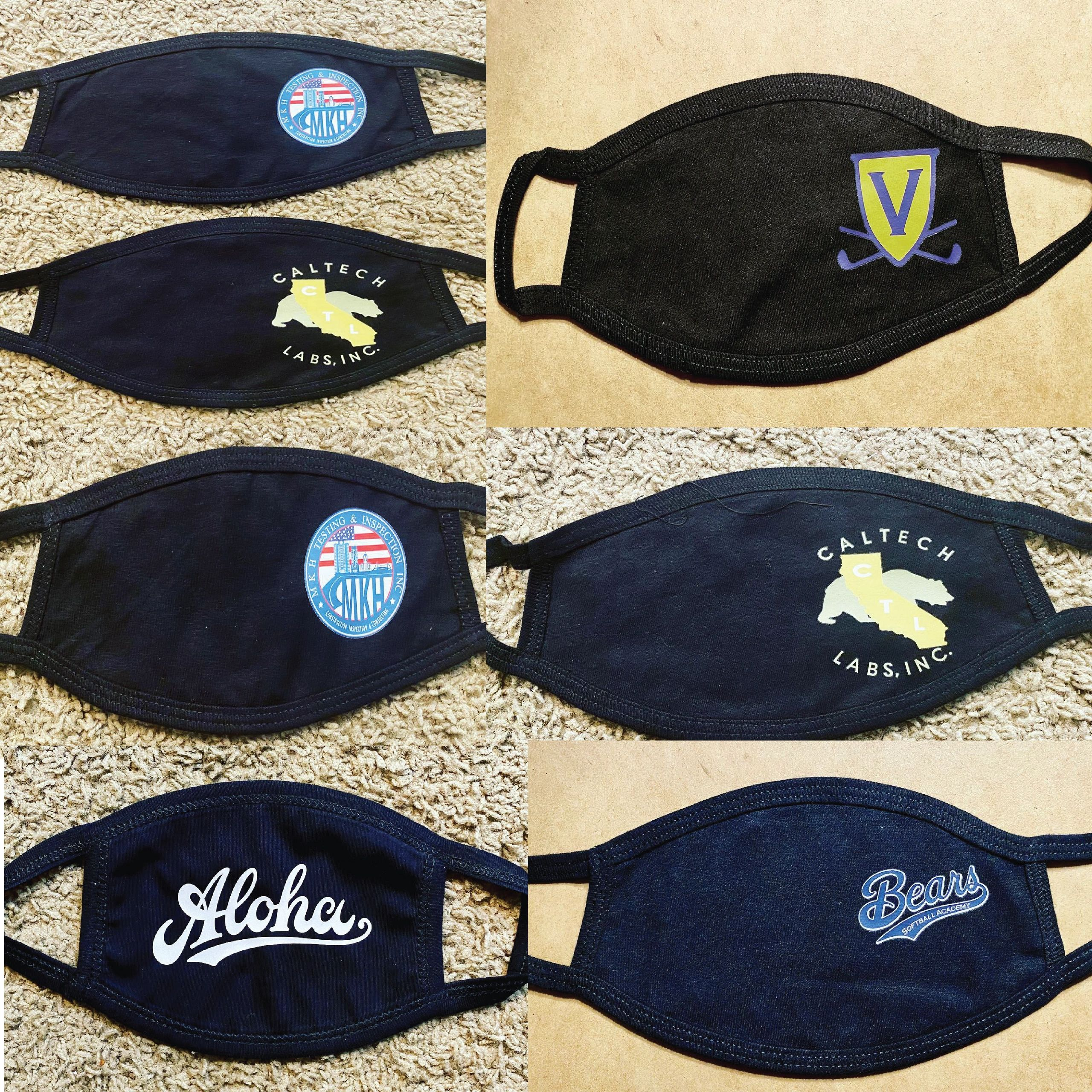 Blank or custom mask designs for businesses or individuals.
