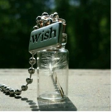Glass bottle wishing dandelion petals handmade necklace