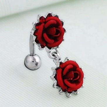 botanical red rose dangle stainless steel belly button ring 14 gauge