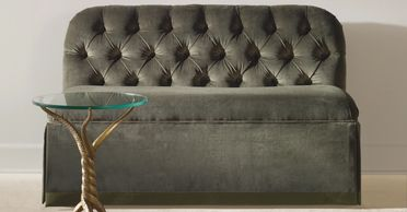 Century furniture settee tufted bench osbourne 44-2143 end table brooke c7a-614 and  gold sunburst mirror sf5304