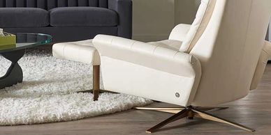 american leather swivel comfort air chair and ottoman in cream leather or fabric