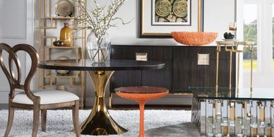artistica home round dining table casanova 2042-870c with brass and ebony seascape orange hermes 2073-870-56C end table