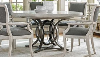 lexington furniture oyster bay round dining table 714-875c with leaf eastport arm chair 714-881