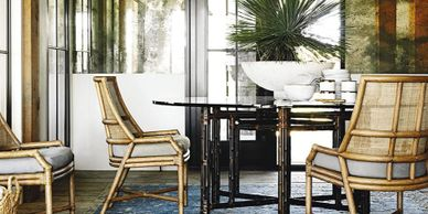 McGuire bamboo chairs umbria ws-110 Orlando Diaz Azcuy McGuire rattan dining  table ba-14 with glass top