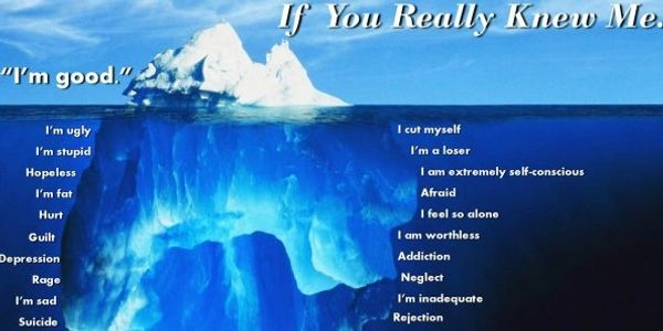 The trauma iceberg illustration. How I'm feeling below the surface that you can see.