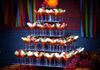 5-tier Square Cupcake Stand displaying Martini Glasses filled with apples dipped in caramel by Belaire Catering