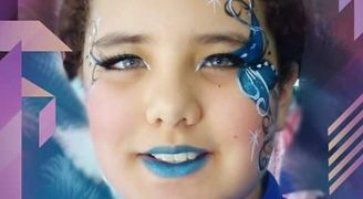 Blue Warrior flower face painting