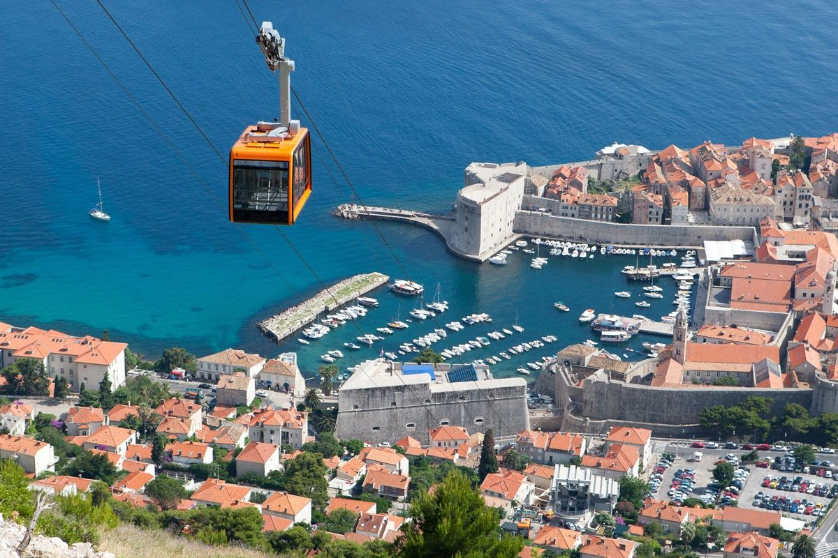 Gondola and view of the Old Town Dubrovnik and the Marina and Adriatic Sea