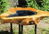 Maple Burl Coffee Table with Blue lake and Industrial look black pipe legs.....$950.....