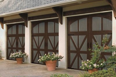 two tone carriage style garage doors
