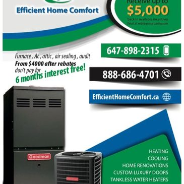 Furnace, Air conditioner, attic insulation to r60, air sealing, enbridge audit, $2200 In rebates