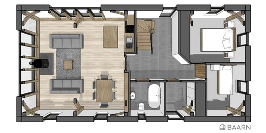 BAARN Loft House kit house ground floor plan - Roderick James Architects